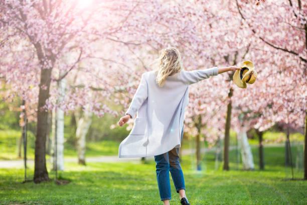dans, koşu ve çiçek kiraz ağaçları ile güzel parkta dönen - bahar stok fotoğraflar ve resimler