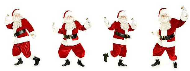 Danse de Santa avec bell isolé sur blanc - Photo