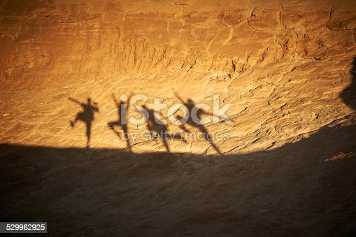 shadows of people on a rock in the desert