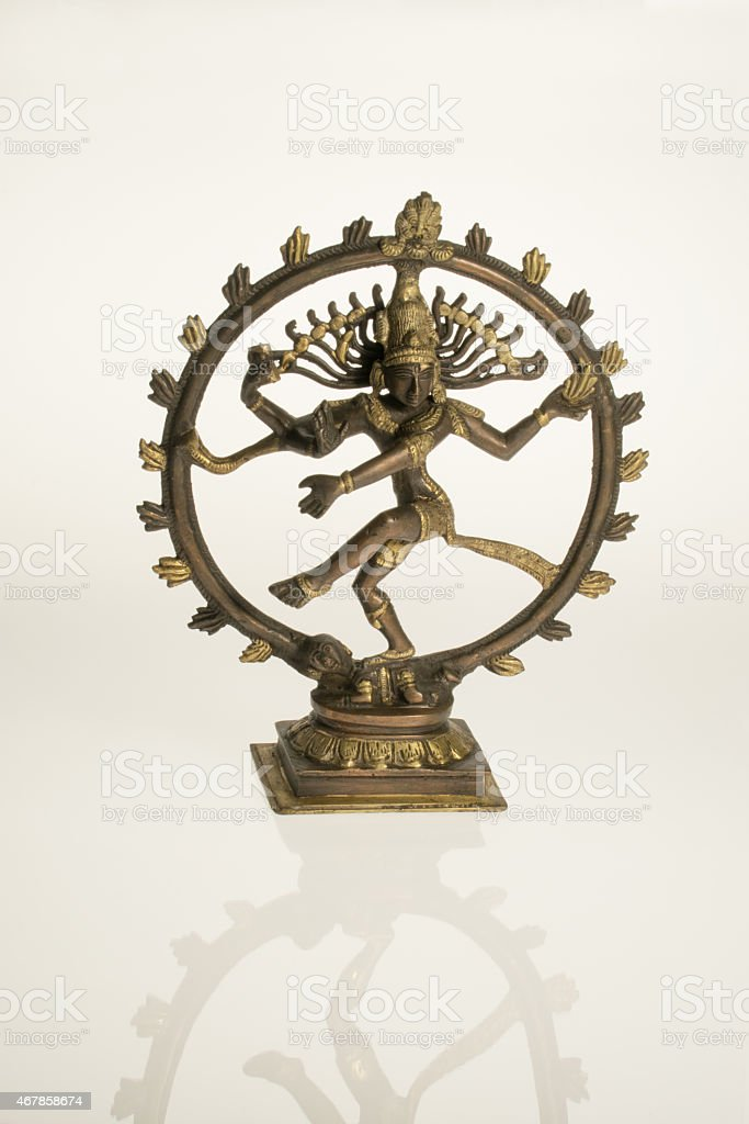 dancing shiva with reflection stock photo