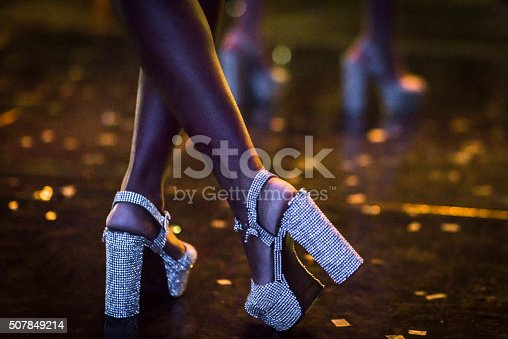 Close-up detail on a pair of sparkle dancing shoes