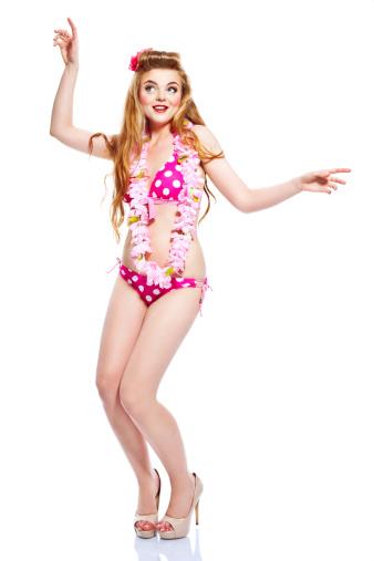 Dancing Summer Girl Studio Portrait Stock Photo - Download Image Now