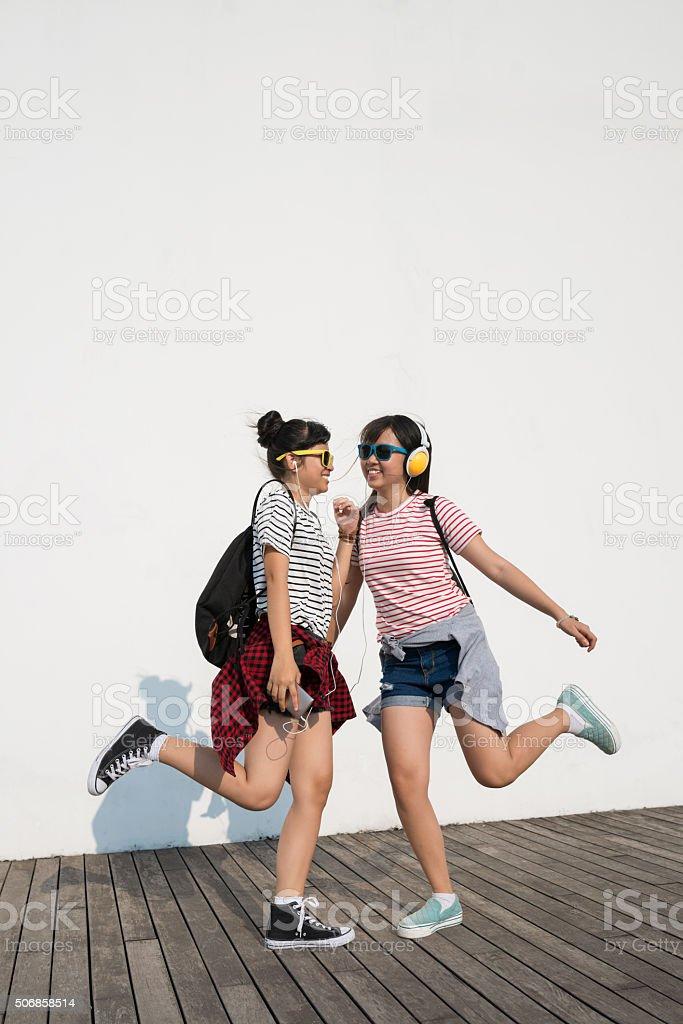 Dancing teens stock photo