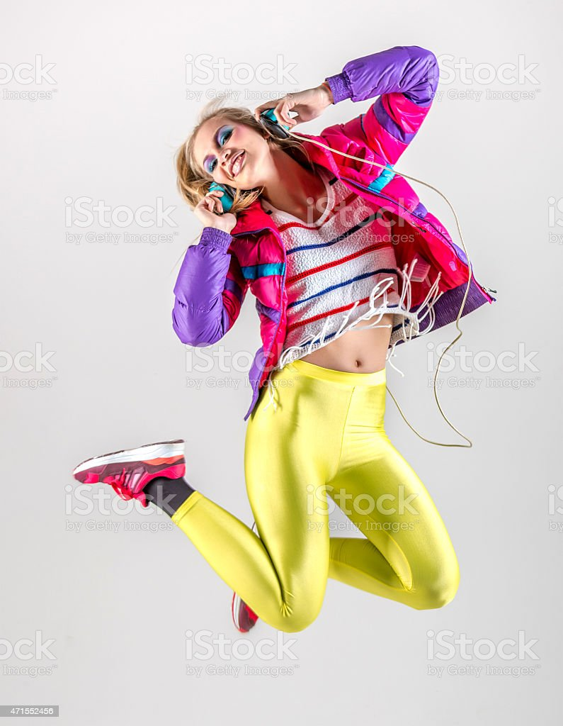Dancing to music 80s stock photo