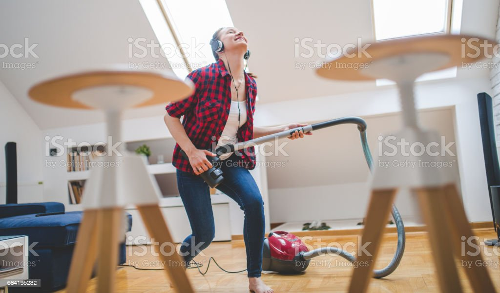 Dancing to music royalty-free stock photo