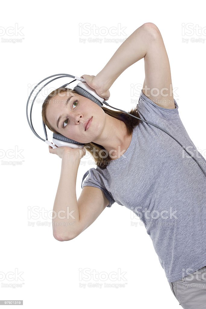Dancing with headphones royalty-free stock photo