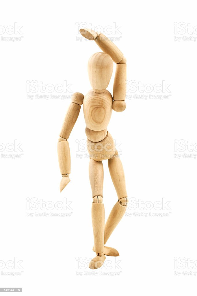 Dancing wooden dummy isolated royalty-free stock photo