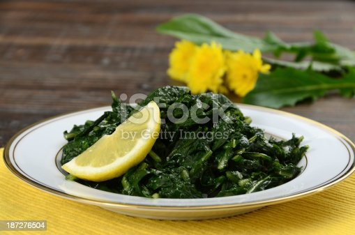 Organic dandelion greens sauteed with garlic, olive oil, and red pepper flakes.