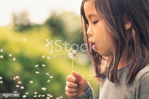 Girl outdoors blowing dandelion seeds.