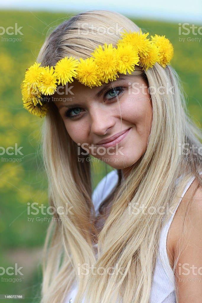Dandelion wreath royalty-free stock photo