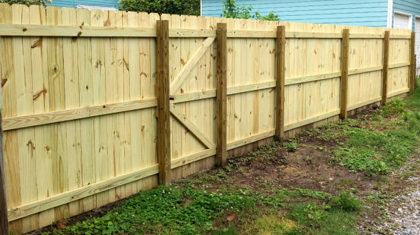 dang, jim! you got a good-looking new fence! - fence stock photos and pictures