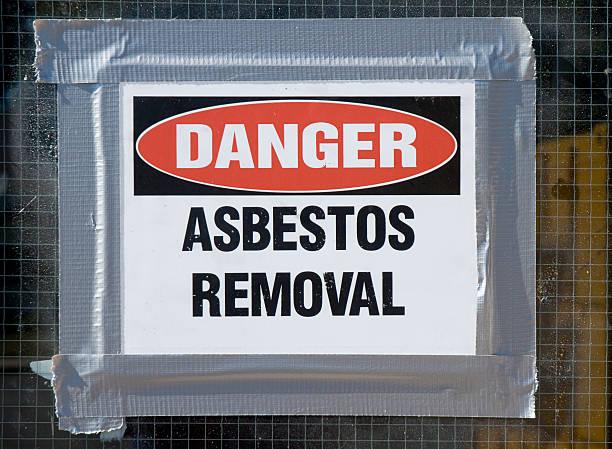 Pericolo amianto rimozione - foto stock