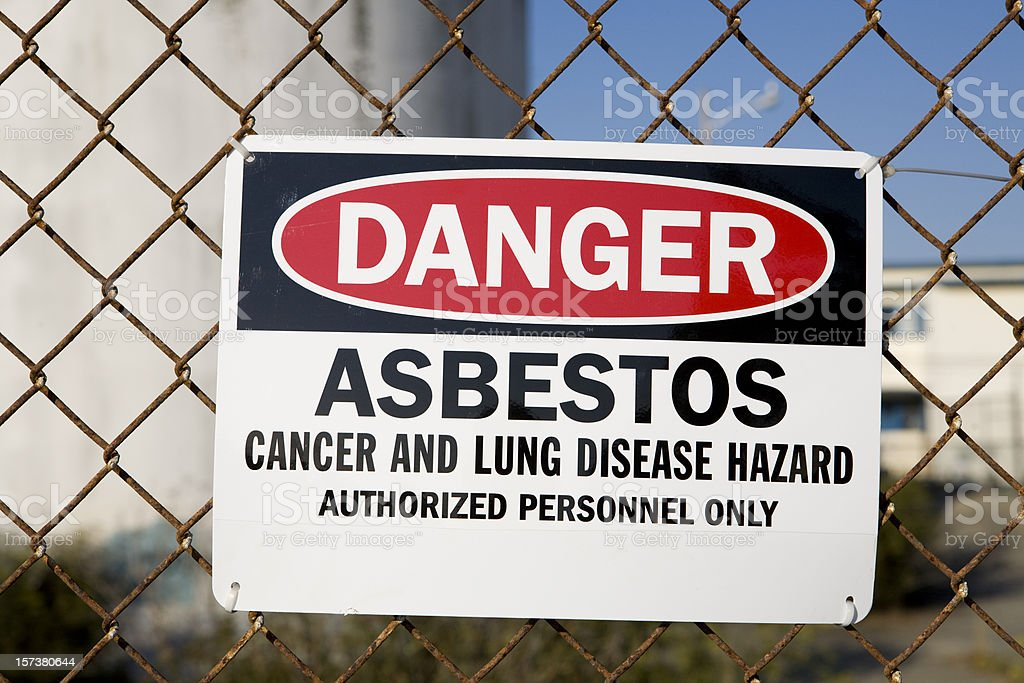 Danger Asbestos Warning Sign stock photo