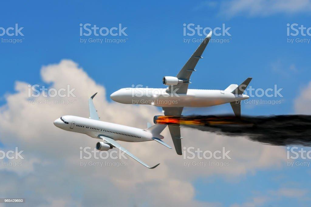 Risque entre deux avions en vol (accident d'aviation) - Photo de Accident de transport libre de droits