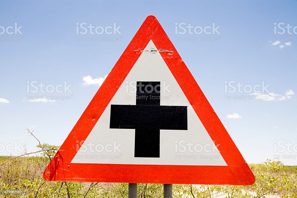 Danger Cross Road Ahead Street Sign Series XII royalty-free stock photo