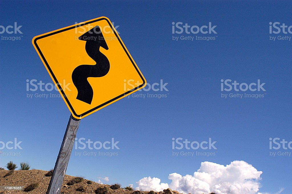 Danger curves traffic signal royalty-free stock photo