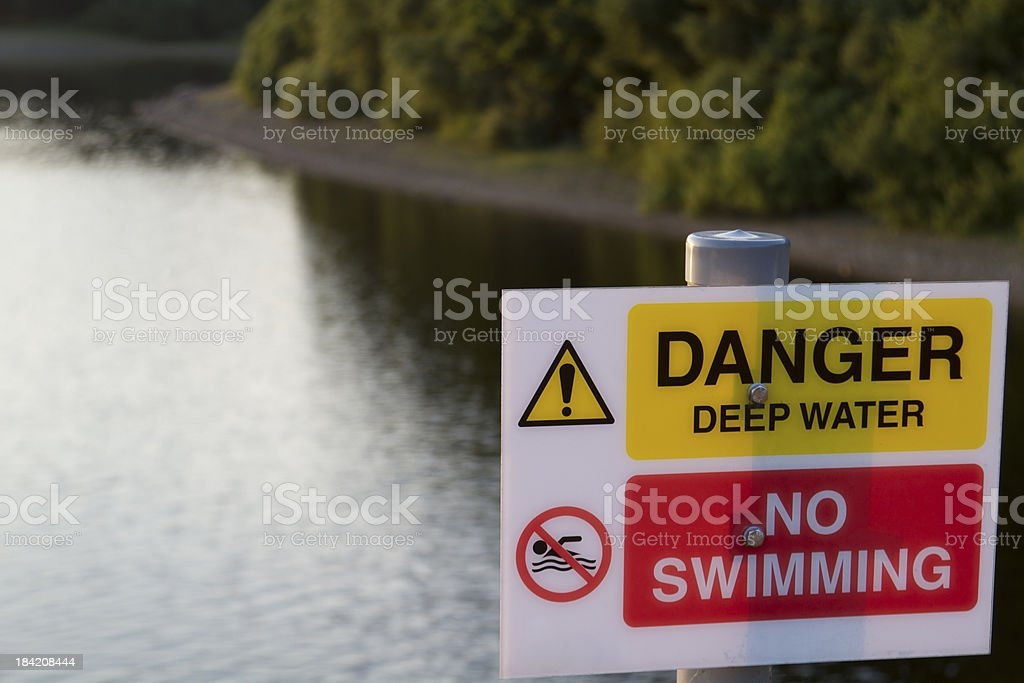 A danger, no swimming sign with a reservoir in the background.