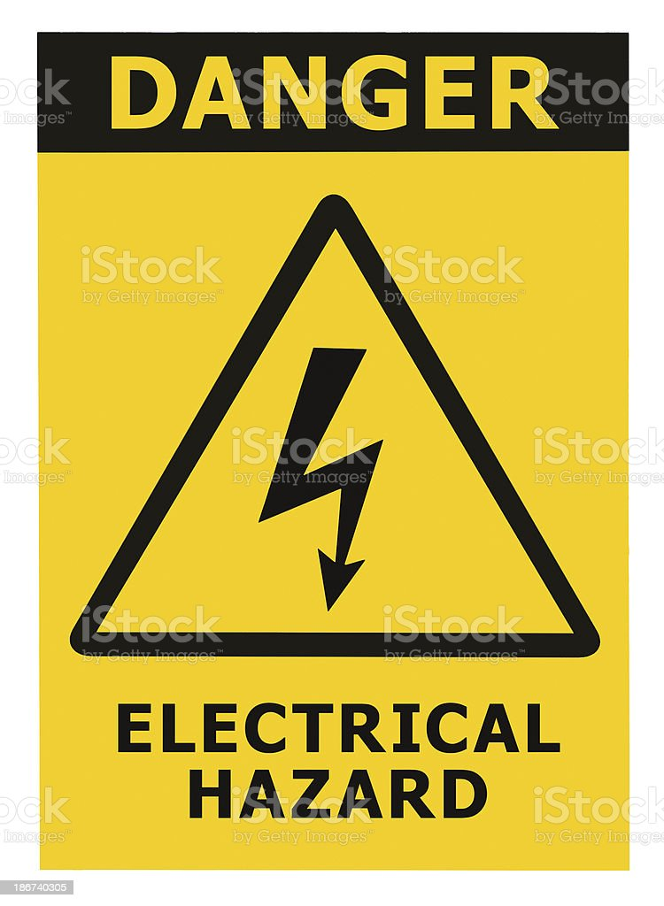 Danger Electrical Hazard Black Triangle Sign Text Isolated Yellow