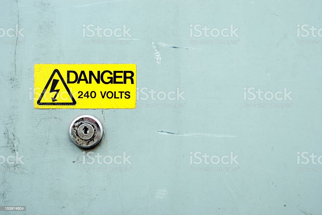 Danger electricity yellow sign royalty-free stock photo