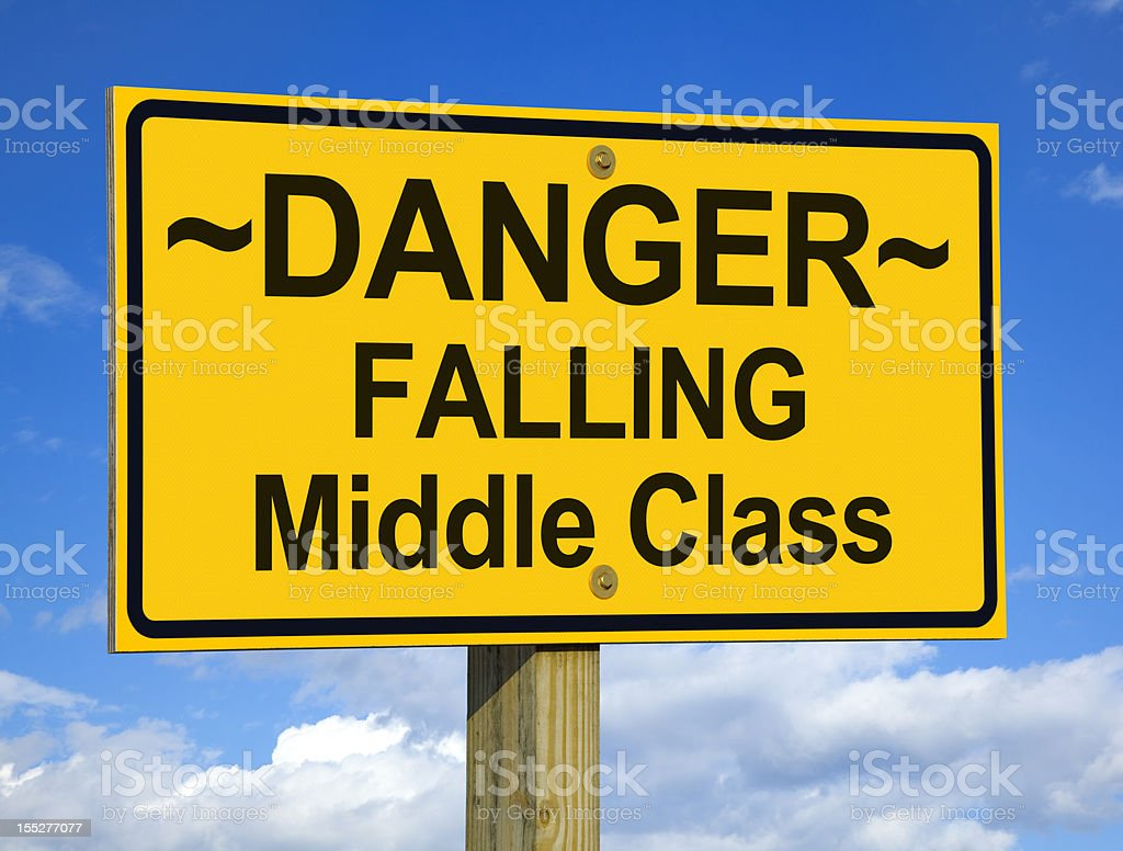 Danger, Falling Middle Class Road Sign stock photo