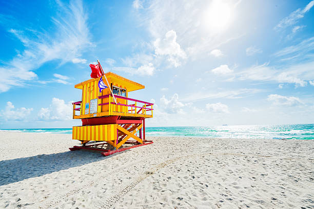 Danger flags Yellow safeguard house on empty Miami beach with warning flags. miami beach stock pictures, royalty-free photos & images