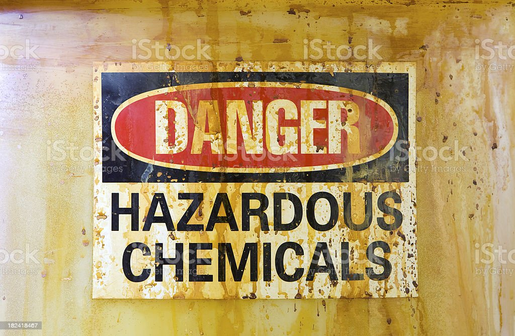 Danger Hazardous Chemicals Sign on a Barrel royalty-free stock photo