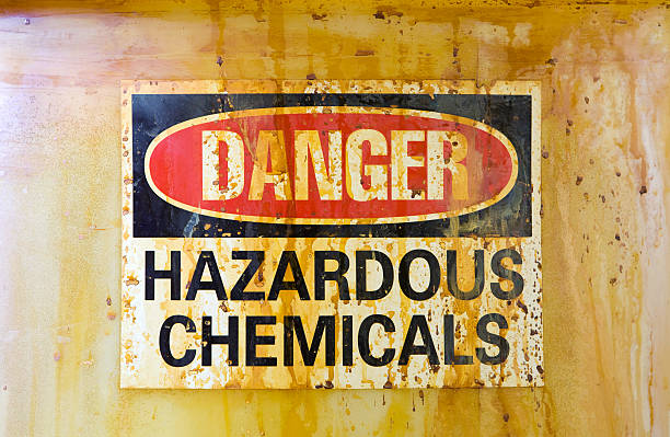 Danger Hazardous Chemicals Sign on a Barrel stock photo