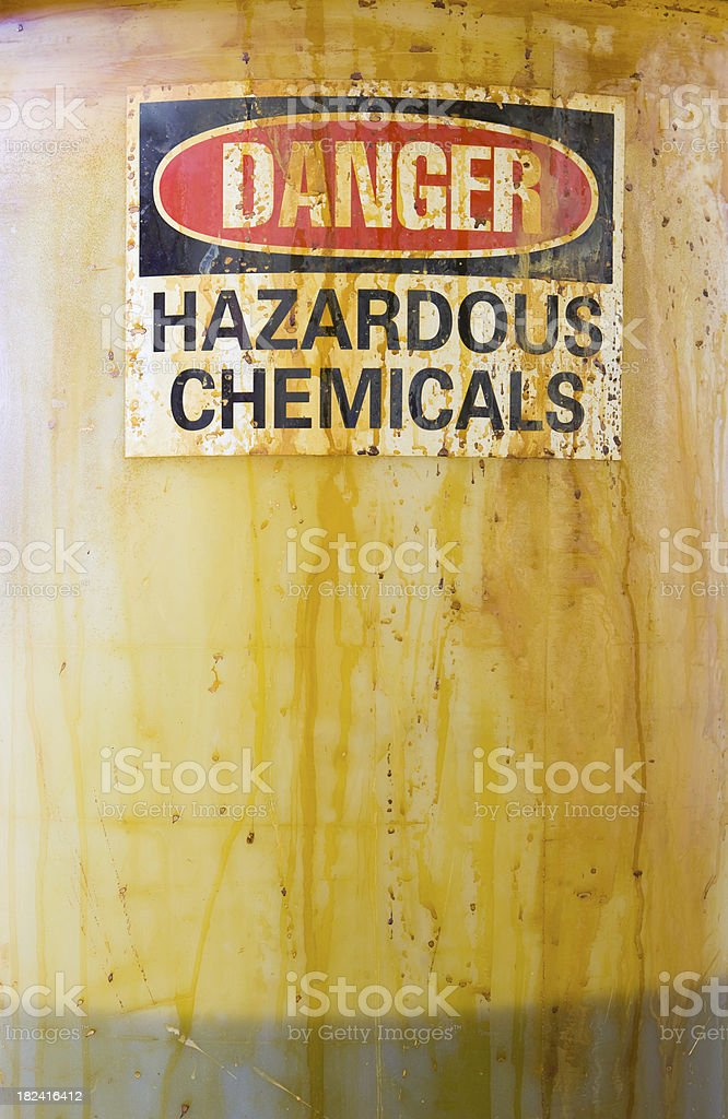 Danger Hazardous Chemicals Sign on a Translucent Barrel with Liquid royalty-free stock photo