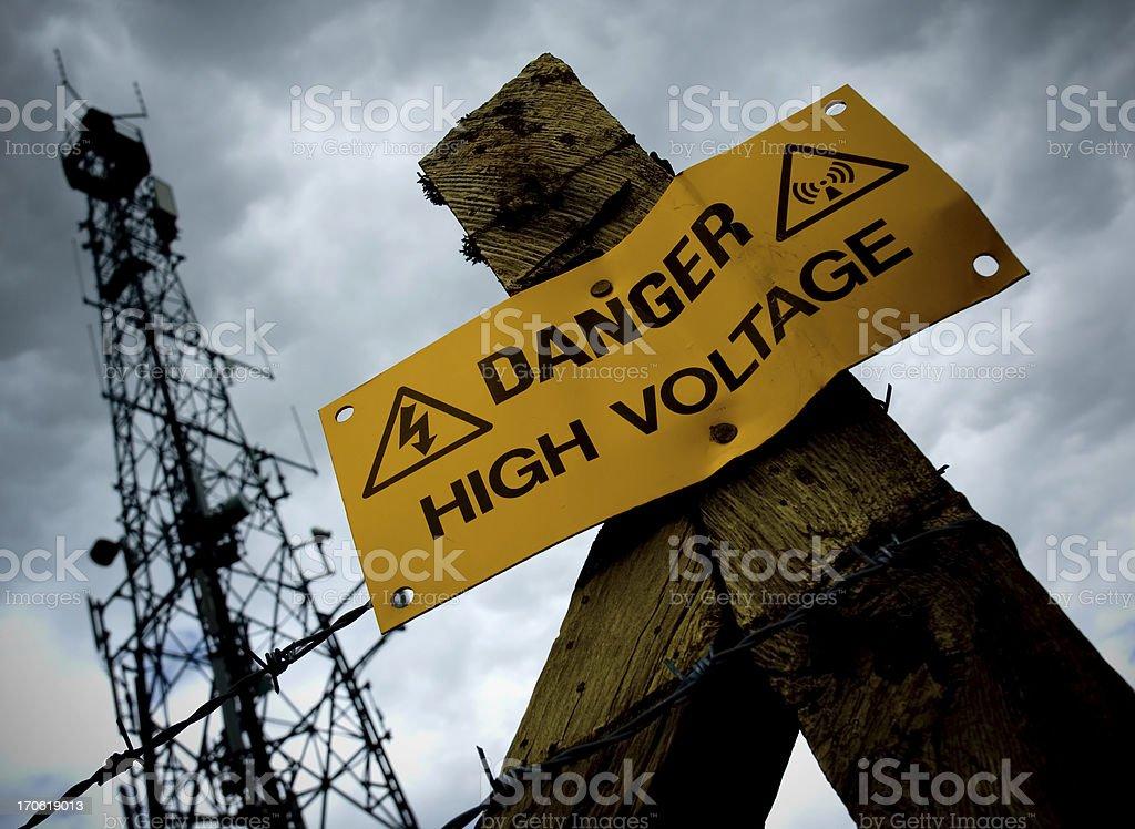 Danger - High Voltage! stock photo