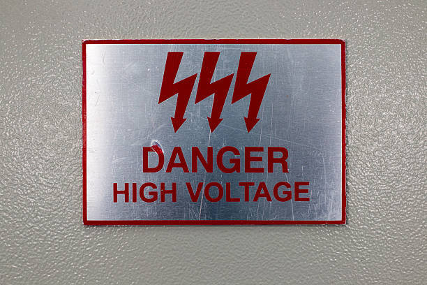 Danger high voltage sign stock photo