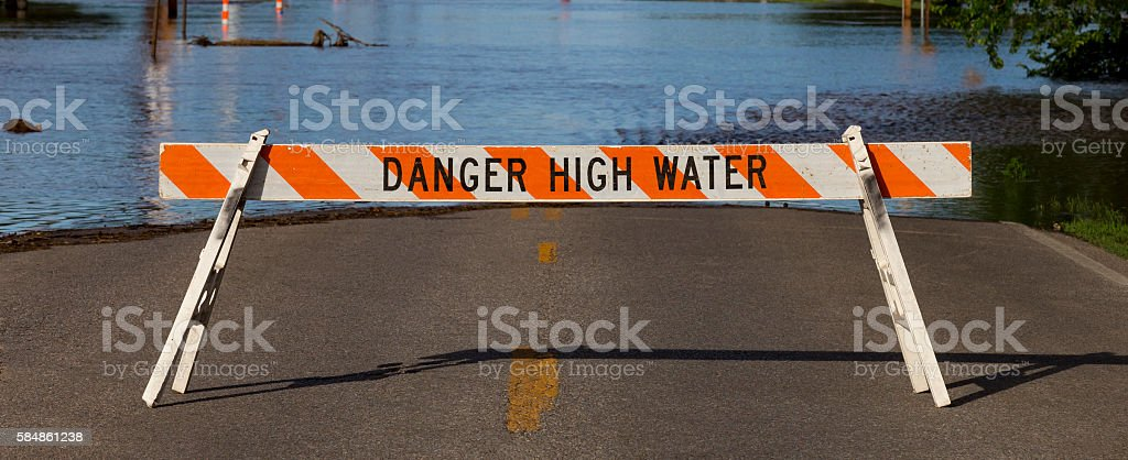 Danger High Water Flooding stock photo
