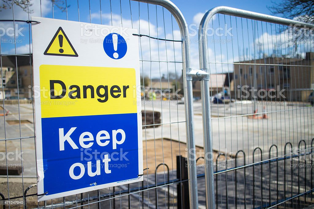Danger - keep out sign on building site stock photo