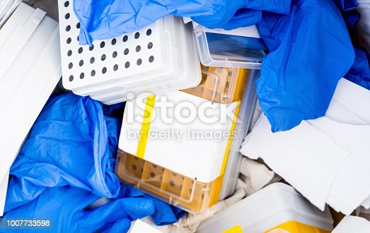 Danger laboratory chemical and medical waste. Plastic waste and ecology