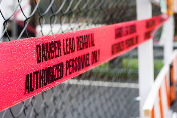 danger lead removal cordon tape - deaden stock pictures, royalty-free photos & images