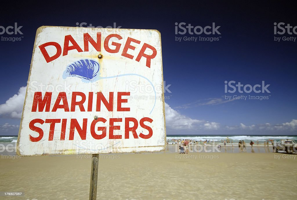 Danger Marine Stingers Sign royalty-free stock photo