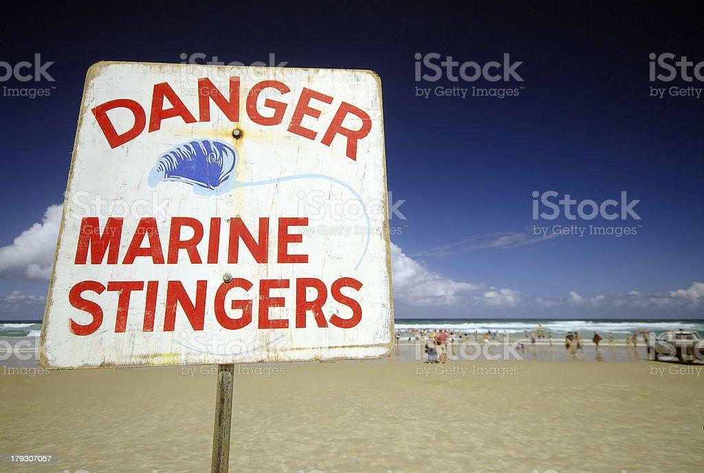 Danger Marine Stingers Sign stock photo