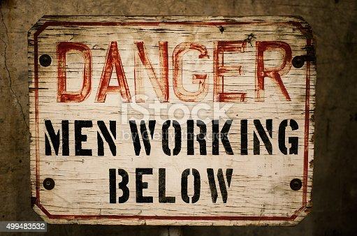 old warning sign