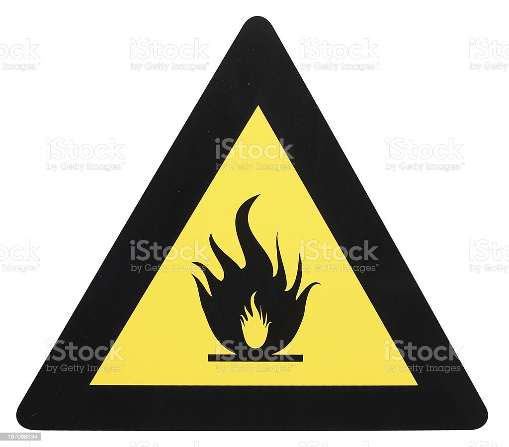 Danger of fire sign isolated on white royalty-free stock photo