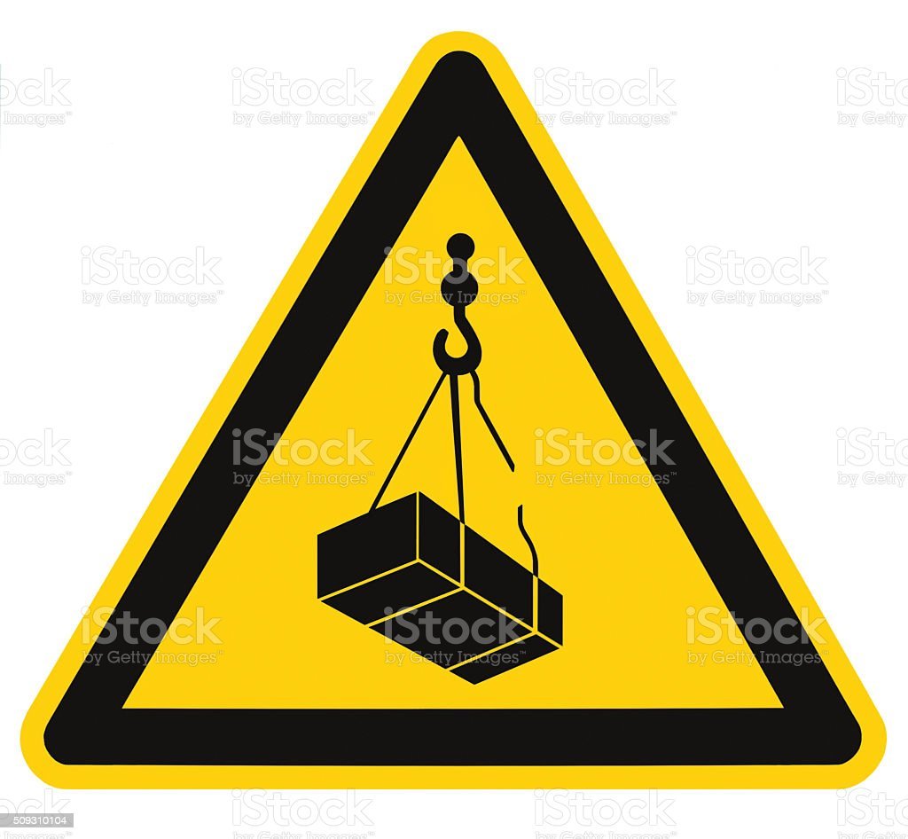 Danger overhead, crane load falling hazard risk sign, isolated icon stock photo