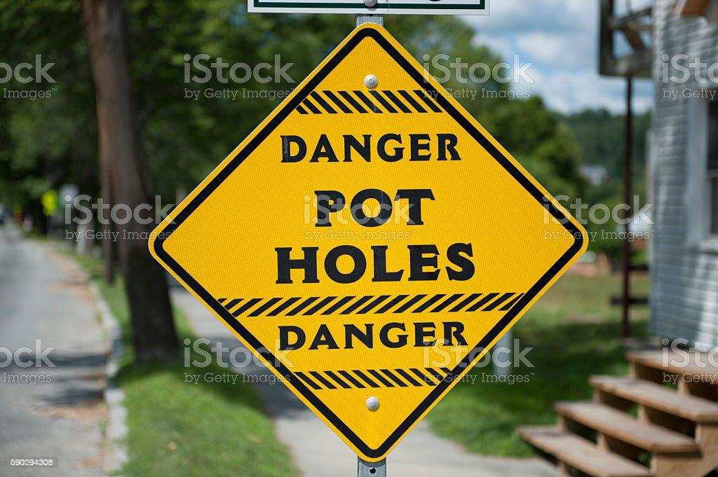Danger 'Pot Holes' sign royaltyfri bildbanksbilder