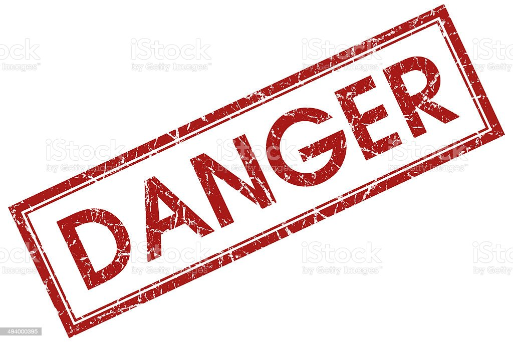danger red square stamp stock photo