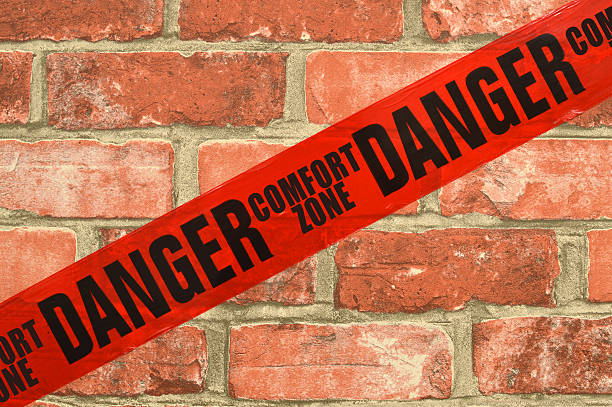Danger Red Tape Comfort Zone Brick Wall Danger Red Tape Comfort Zone Brick Wall time zone stock pictures, royalty-free photos & images