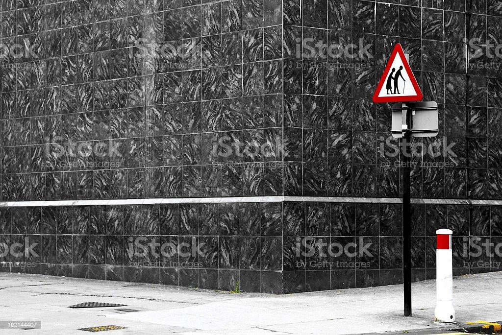 Danger senior crossing royalty-free stock photo