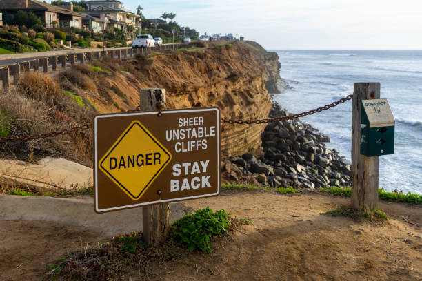 Danger - Sheer Unstable Cliff - Stay Back sign stock photo