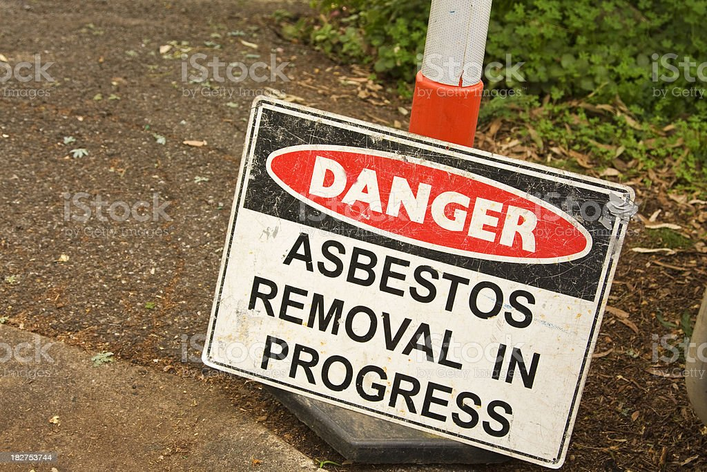 Danger  sign, asbestos removal in progress stock photo