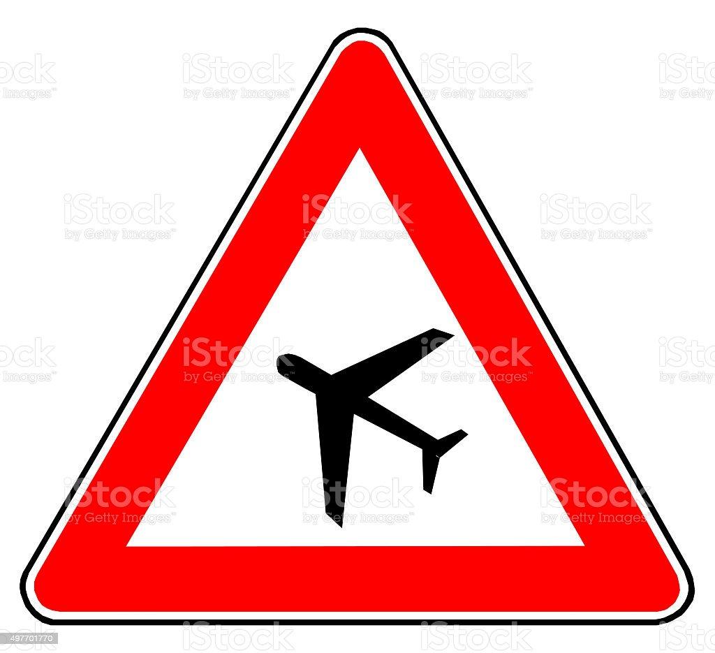 Gefahrenschild Flugbetrieb stock photo