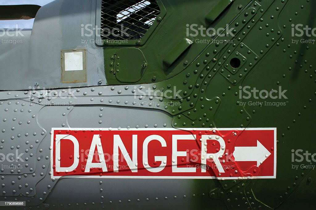 Danger sign on Helicopter stock photo