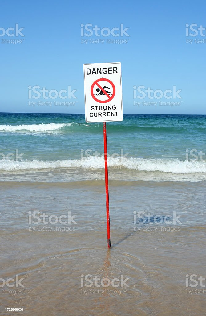 Danger Sign Strong Current stock photo