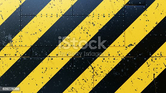 A collection of rugged scratched plates, with danger stripes painted on. Bolted together with rivets. The image has an 16:9 aspect ratio.