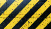 Danger Stripes Background Plates With Rivets